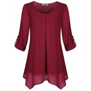 Hibelle Women's Roll-up Long Sleeve Round Neck Casual Chiffon Blouse Top - Shirts - $50.99