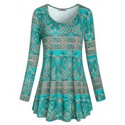 Hibelle Women's Scoop Neck Long Sleeve Casual Printed Flared Basic Tunic Tops - Shirts - $45.99