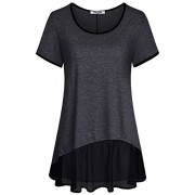 Hibelle Women's Scoop Neck Short Sleeve Patchwork Chiffon Hem Casual Tunic Top - Accessories - $45.99