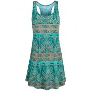 Hibelle Women's Scoop Neck Sleeveless Casual Printed Tank Dress with Pockets - Dresses - $50.99