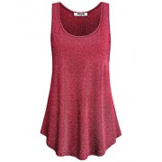 Hibelle Women's Sleeveless Sparkle Shimmer Casual Loose Tank Tops - Accessories - $19.99