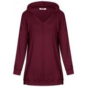 Hibelle Women's V Neck Drop Shoulder Sleeve Casual Side Slits Hoodie Tunic Tops - Shirts - $46.99