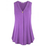 Hibelle Women's V Neck Elegant Draped Tunic Tank - Shirts - $55.99