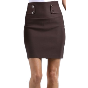 High Waist Stretch Pencil Skirt with Button Detail ( Choose from 3 Colors ) - Clearance Sale ! Brown - Skirts - $19.99
