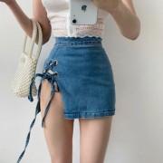 High Waist Side Split Lace Up Fringe Hollow Slim Sexy Short Skirt - 裙子 - $25.99  ~ ¥174.14