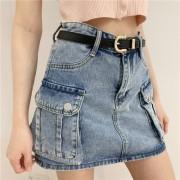 High-waisted skirt women's double pockets denim skirt denim skirt overalls - Faldas - $29.99  ~ 25.76€