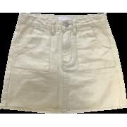 High-waist pocket solid color denim skir - Skirts - $25.99