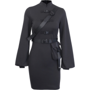 High waist stand collar dress ins flared long sleeve bag hip skirt - Kleider - $25.99  ~ 22.32€