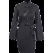 High waist stand collar dress ins flared long sleeve bag hip skirt - Haljine - $25.99  ~ 165,10kn