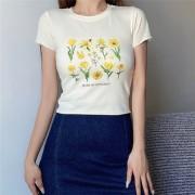 High waist tight print short sleeve sexy T-shirt - Shirts - $25.99