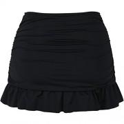 Hilor Women's High Waisted Swim Skirt Shirred Skirted Swim Bottom Ruffle Tankini Bottom Tummy Control - Swimsuit - $42.00