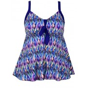 Hilor Women's Plus Size Swimsuits Flowy Tankini Tie Knot Two Piece Swimsuits Tankini Bathing Suits - Swimsuit - $19.99