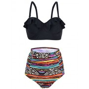 Hilor Women's Retro Ruffle Push Up High Waisted Two Piece Tankini Swimsuit Bikini Set - Swimsuit - $9.99