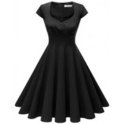 Homrain Women's 1950s Retro Vintage Cap Sleeve Rockabilly Swing Dress Cocktail Dresses - Dresses - $19.99