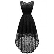 Homrain Women's Floral Lace Sleeveless Hi-Lo Bridesmaid Dress Vintage Cocktail Formal Swing Dress - Dresses - $27.99