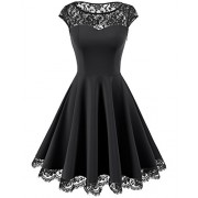 Homrain Women's Vintage 1950s Floral Lace Scoop Neck Cap Sleeve Cocktail Party Dress - Dresses - $22.99