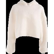 Hooded Turtleneck Sweater Female Furry L - Jacket - coats - $35.99