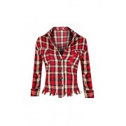Hot From Hollywood Women's Frigned Crop Flannel Plaid Long Sleeve Button Up Top - Рубашки - короткие - $22.99  ~ 19.75€