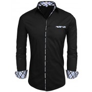 Hotouch Men's Fashion Button Up Shirt Slim Fit Dress Shirt Contrast Long Sleeve Casual Button Down Shirts - Shirts - $5.99