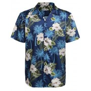 Hotouch Men's Hawaiian Aloha Shirt Short Sleeve Tropical Floral Print Button Down Shirt - Shirts - $7.99