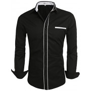 Hotouch Mens Slim Fit Oxford Shirt Button Up Dress Shirt for Father for Gentleman Black M - Shirts - $21.99