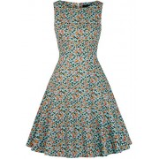 IHOT Vintage 1950's Summer Floral Garden Party Picnic Dress Party Cocktail Dress for Women Green Bird Large - Dresses -