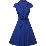IHOT Women's 1950s Cap Sleeve Swing Vintage Party Dresses Multi Colored - Dresses - $59.99