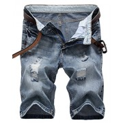 IWOLLENCE Men's Fashion Ripped Distressed Straight Fit Denim Shorts with Hole - Shorts - $24.99