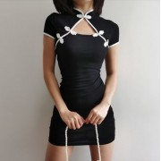 Improved cheongsam black and white contr - Kleider - $25.99  ~ 22.32€