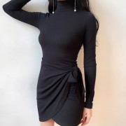 Intellectual Slim Thin Wrap High Collar - Dresses - $35.99