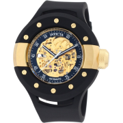Invicta Men's 0868 S1 Automatic Gold Tone Skeleton Dial Black Polyurethane Watch - Watches - $299.95