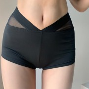 Irregular peach hip sports fitness yoga mesh splicing bag hip elastic bottoming - Hlače - kratke - $19.99  ~ 126,99kn