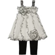 Isobella & Chloe Antoinette 2pc Set With Mesh Ruffled Skirt. White&Black. - Skirts - $48.00