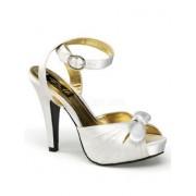 Ivory Satin Ankle Strap Platform Sandal - 11 - Sandals - $42.50