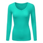 JJ Perfection Women's Basic Long Sleeve V-Neck Top T-Shirt - Shirts - $9.99