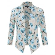 JJ Perfection Women's Floral Texture Woven Ruched Sleeve Open-Front Blazer - Shirts - $23.99