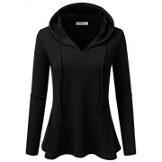 JJ Perfection Women's Long Sleeve Casual Lightweight Peplum Hooded Top - Shirts - $19.99