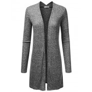 JJ Perfection Women's Long Sleeve Open Front Marled Knitted Cardigan Sweater - Shirts - $19.99