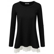 JJ Perfection Womens Long Sleeve Slim Fit Lace Flowy Top T-Shirt - Shirts - $19.99