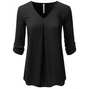 JJ Perfection Women's Long Sleeve V-Neck Pleated Chiffon Blouse Shirt Top - Shirts - $17.99