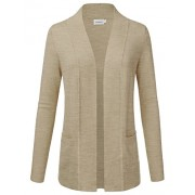 JJ Perfection Women's Open Front Knit Long Sleeve Pockets Sweater Cardigan HEATHERKHAKI XL - Shirts - $24.00