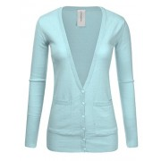 JJ Perfection Women's Ribbed Knit Deep V Long Sleeve Cardigan w/Dual Pockets - Shirts - $15.99