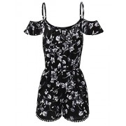JJ Perfection Womens Summer Sleeveless Printed Overlay Romper Jumpsuit - Pants - $17.99