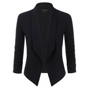 JJ Perfection Womens Textured Open-Front Collar Blazer with Ruched Elbow Sleeve - Shirts - $17.99
