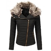 JJ Perfection Women's Zip Up Quilted Fur Trimmed Hood Padding Jacket - Outerwear - $39.99