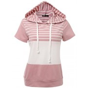 JayJay Women Casual Athleisure Velvet Contrast Color Short Sleeve Pullover Hoodie Sweater Shirt - Camisa - curtas - $21.99  ~ 18.89€