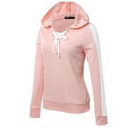 JayJay Women Striped Basic Lightweight Pullover Hoodie Sweatshirt with Contrast String - Camisa - curtas - $24.99  ~ 21.46€
