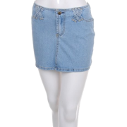 Juniors / Missy Light Blue Denim Cotton 4-Pocket Button-fly Mini Skirt - Close-out Sale ! - Skirts - $19.99