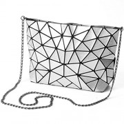KAISIBO Fashion Geometric bags Chain cross body Shoulder Bag PU leather clutch purses for women (White) - Hand bag - $37.99