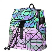 KAISIBO Geometric Backpack Holographic Reflective Backpacks (Luminous B) - Hand bag - $59.99